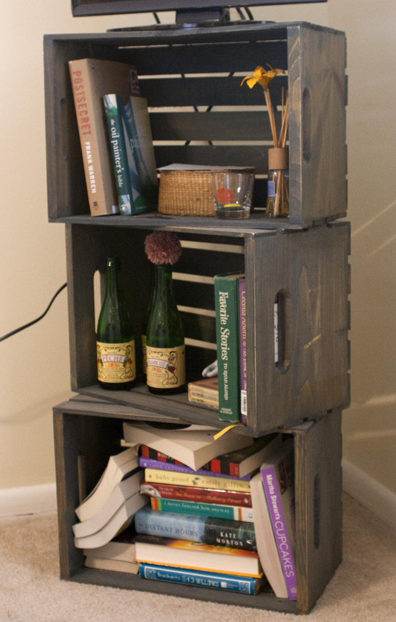 Bookshelf made of michaels 39 s crates dream home pinterest for Diy wooden crate ideas